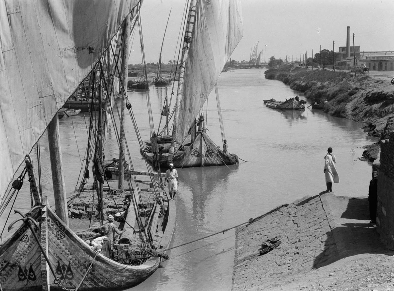 Boats dock in a canal off the Nile. 1934.