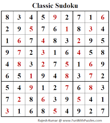 Answer of Classic Sudoku Puzzles (Fun With Sudoku #287)