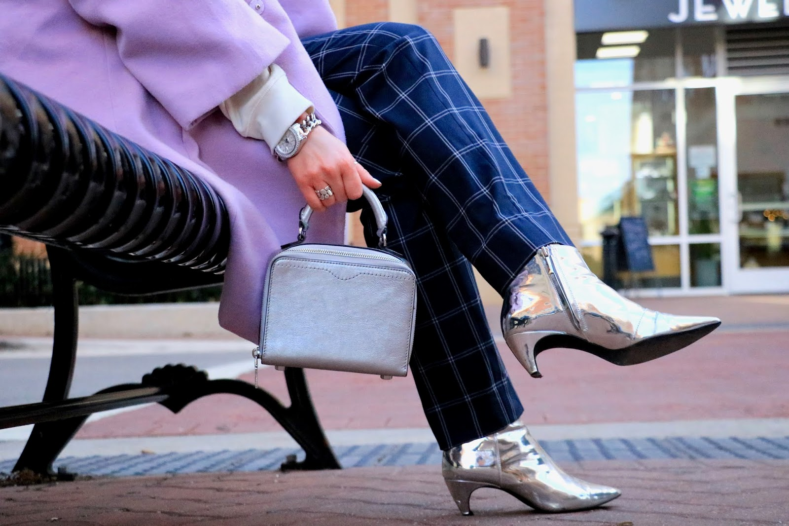 Nyc fashion blogger Kathleen Harper's silver booties outfit