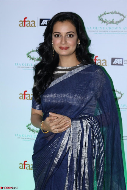 Dia Mirza in Sizzling Designer Saree at THE OLIVE CROWN AWARDS 2017 06.jpg