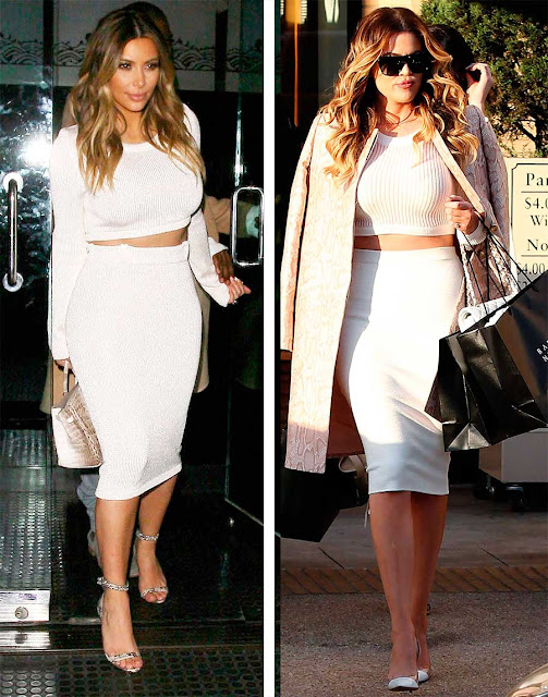 Kim e Kloe Kardashian looks par de vasos