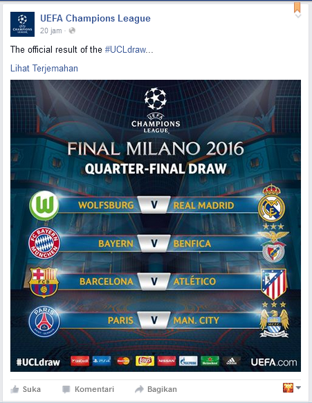 Agenda Perempat Final Champions League 2015-2016 - Dipopedia