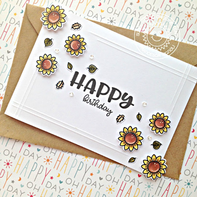 Sunny Studio Stamps: Happy Thoughts Sunflower Happy Birthday Card by Franci Vignoli