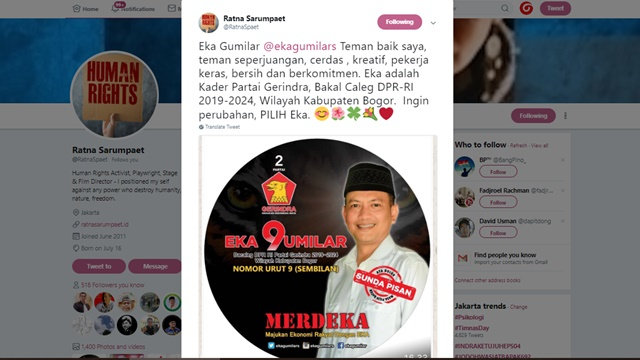 Ratna Sarumpaet ke Warga Bogor: Ingin Perubahan, Pilih Eka Gumilar!