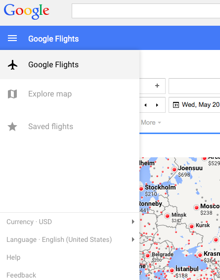 Google flights uses material design for Material design table