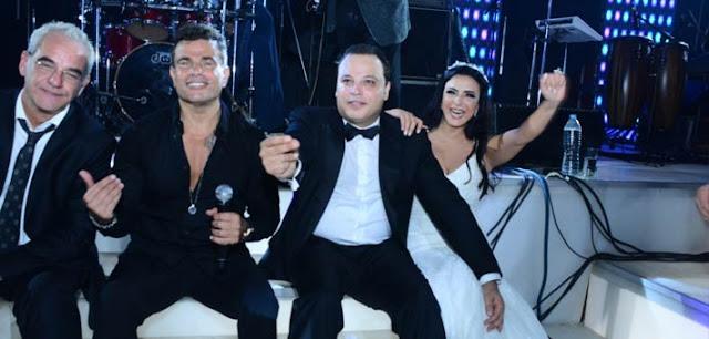 تامر عبد المنعم وعروسه مع عمرو دياب