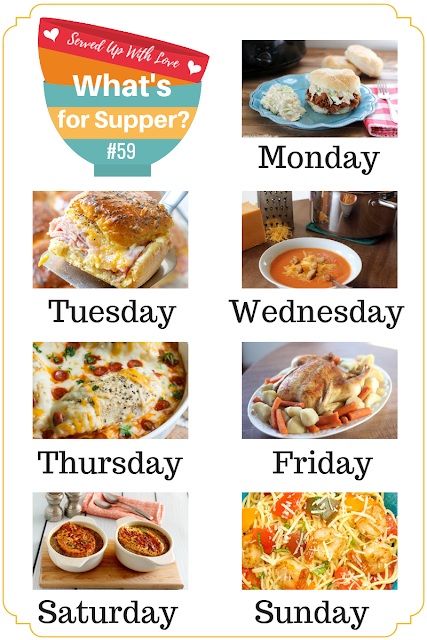 Whats for Supper Sunday meal plan recipes include Ham and Cheese Sliders, Crock Pot Pork BBQ, Tomato Soup, Tomato and Shrimp Pasta, and so much more.