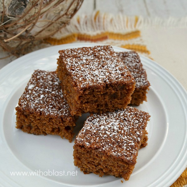 Gingerbread Snacking Cake ~ Rich, tasty Molasses, Gingerbread cake which is moist, soft and even better the next day #Gingerbread #Cake www.withablast.net
