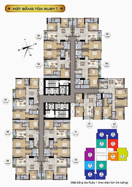 Mặt bằng và diện tích các căn hộ tòa Ruby 1