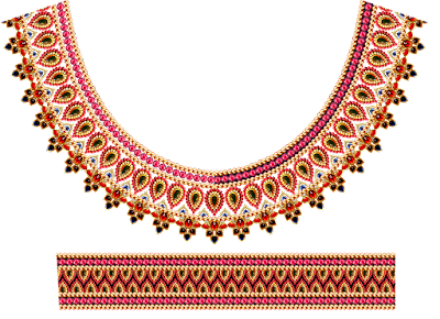 Jwellery made textile neck design 614