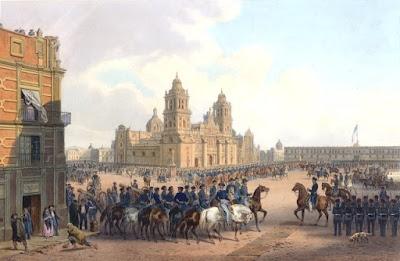 Ocupación estadounidense de la Ciudad de México. La bandera de los Estados Unidos está encima del Palacio Nacional.Wikipedia