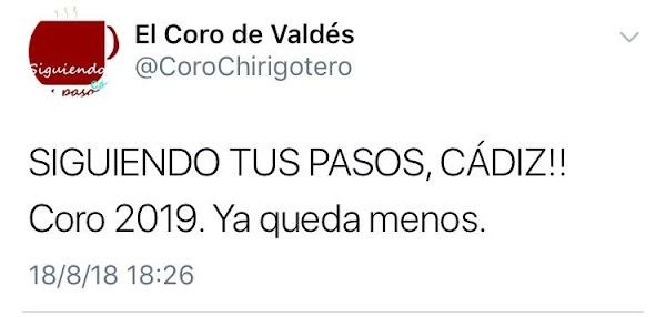 """El coro del Valdés, este 2018, """"Los Nostálgicos de la Transición"""", serán para el carnaval 2019 """"Siguiendo tus pasos"""""""