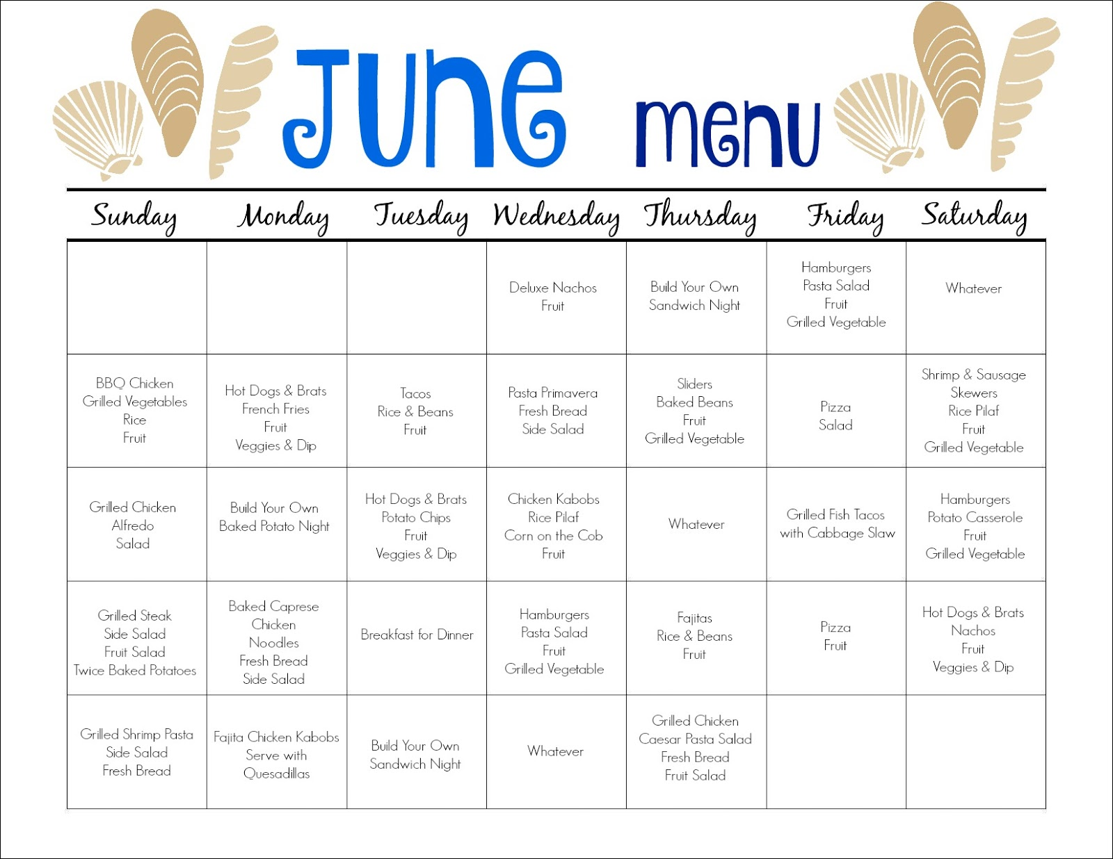 June Meal Plan for Families (& Free Printable) - The