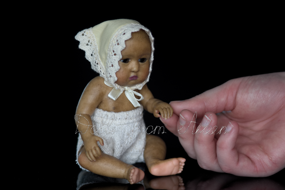 OOAK baby girl doll with human hand
