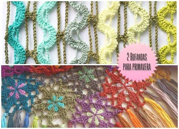 Bufandas ligeras con sobras de hilos para primavera a crochet