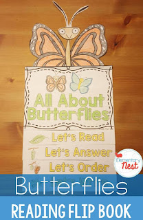 Butterflies Flip Book- reading, comprehension, science, and writing activities for hands-on learning for primary kids