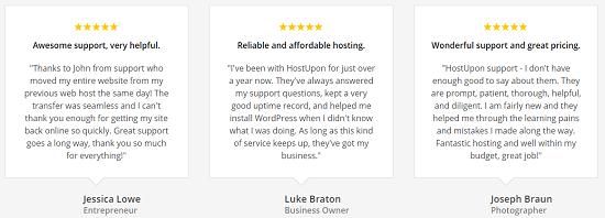 HostUpon testimonials