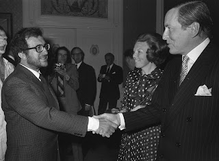 Berio at a formal appearance in The Hague in 1972, pictured with Princess Beatrix and Prince Claus of The Netherlands