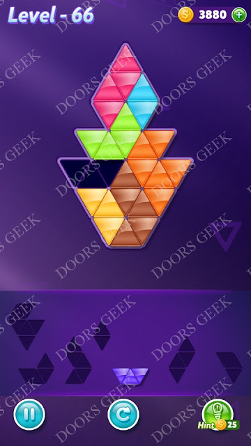 Block! Triangle Puzzle Advanced Level 66 Solution, Cheats, Walkthrough for Android, iPhone, iPad and iPod