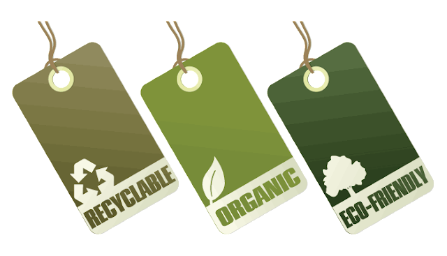 Three apparel price tags labeled, respectively, as recyclable, organic and eco-friendly.