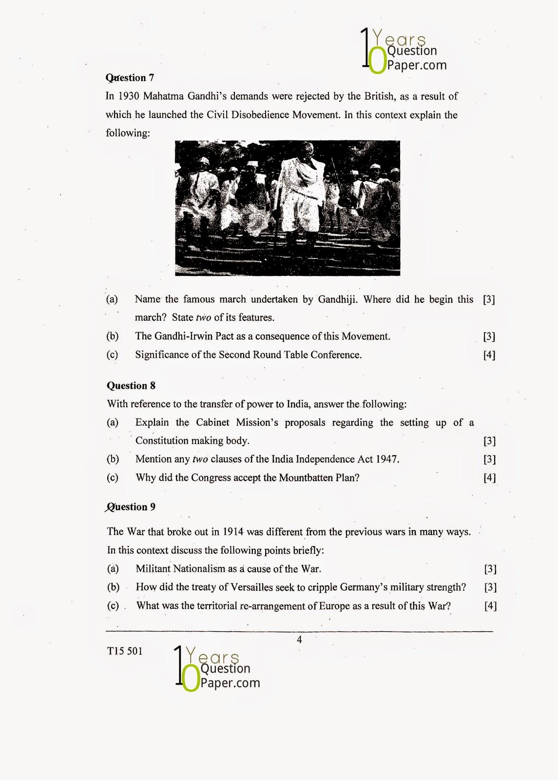 Icse History Amp Civics H C G Paper 1 Question