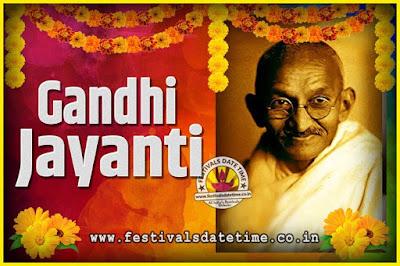 2021 Gandhi Jayanti Date and Time, 2021 Gandhi Jayanti Calendar