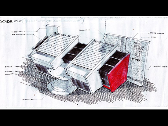 Sketsa tangan arsitek