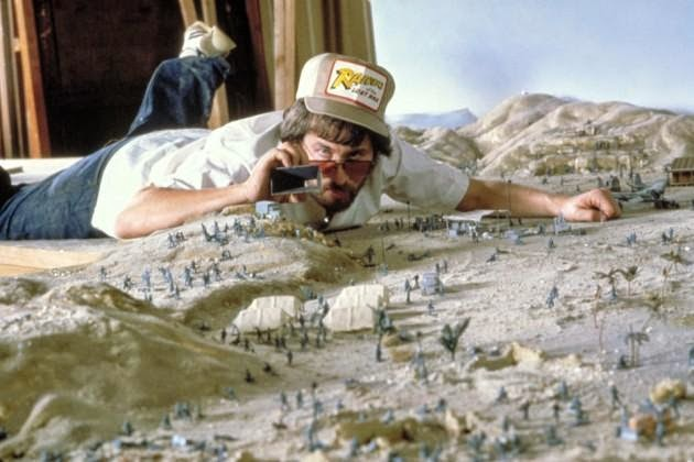 24 Rare Historical Photos That Will Leave You Speechless - Steven Spielberg taking photos of some of the set pieces that were made as miniatures for the first Indiana Jones movie Raiders of the Lost Ark.