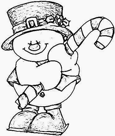 desenho de boneco de neve com bengala para pintar
