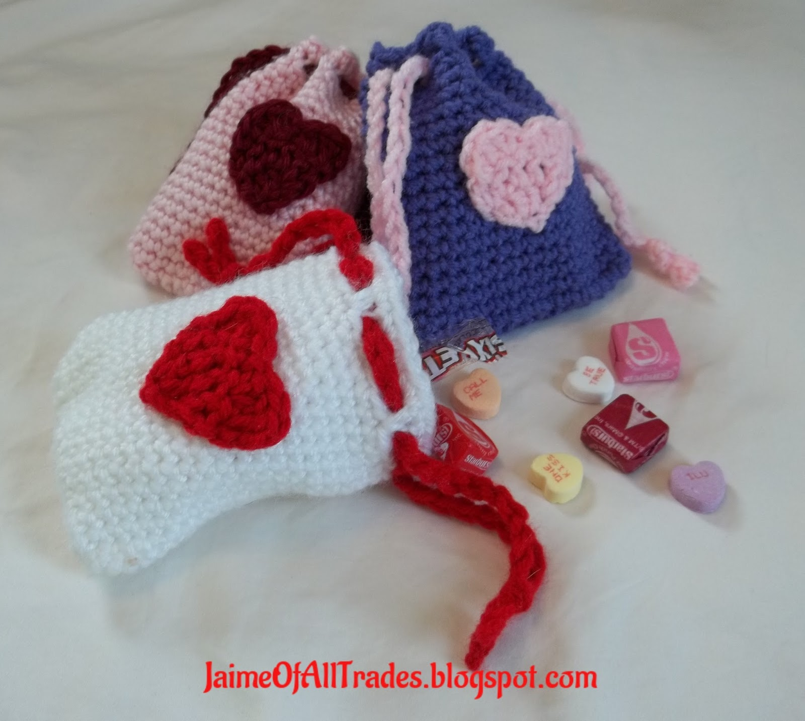 Jaime of All Trades: Crochet Valentine\'s Day Treat Bags