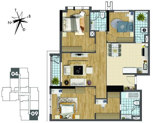 Mặt bằng căn hộ 04 và 09 tòa Sapphire 2