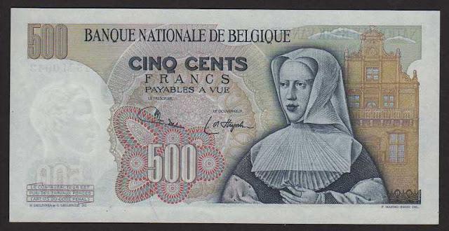 European money currency banknotes Belgium 500 Belgian francs