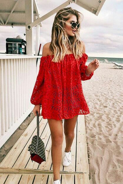 Red laces off shoulder top