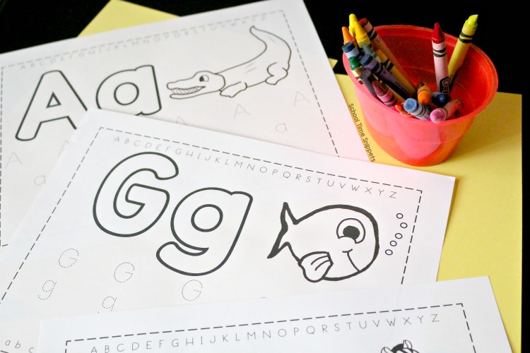 Free Alphabet Trace & Color Worksheets School Time Snippets