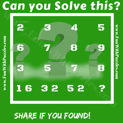 It is an interesting logical reasoning Maths question for teens. In this your have to find the logical pattern and then find the value of missing number.