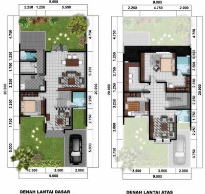 Contoh Denah Rumah Minimalis 2 Lantai type 45 Terlengkap