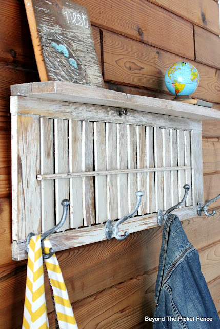 make a coat hook and shelf from an old shutter