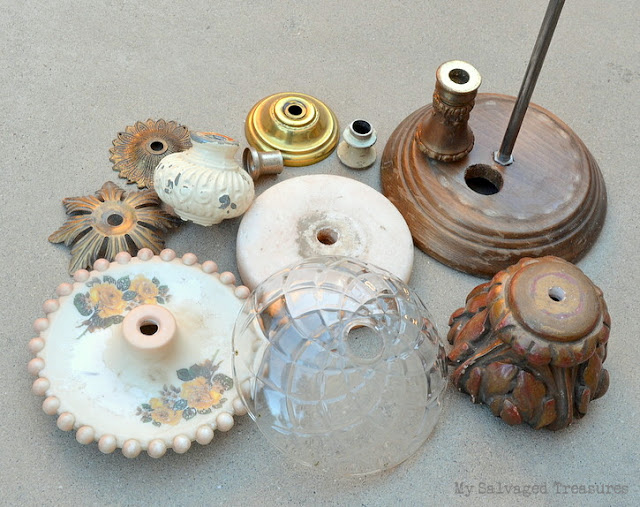 repurposed vintage lamp parts Christmas tree project