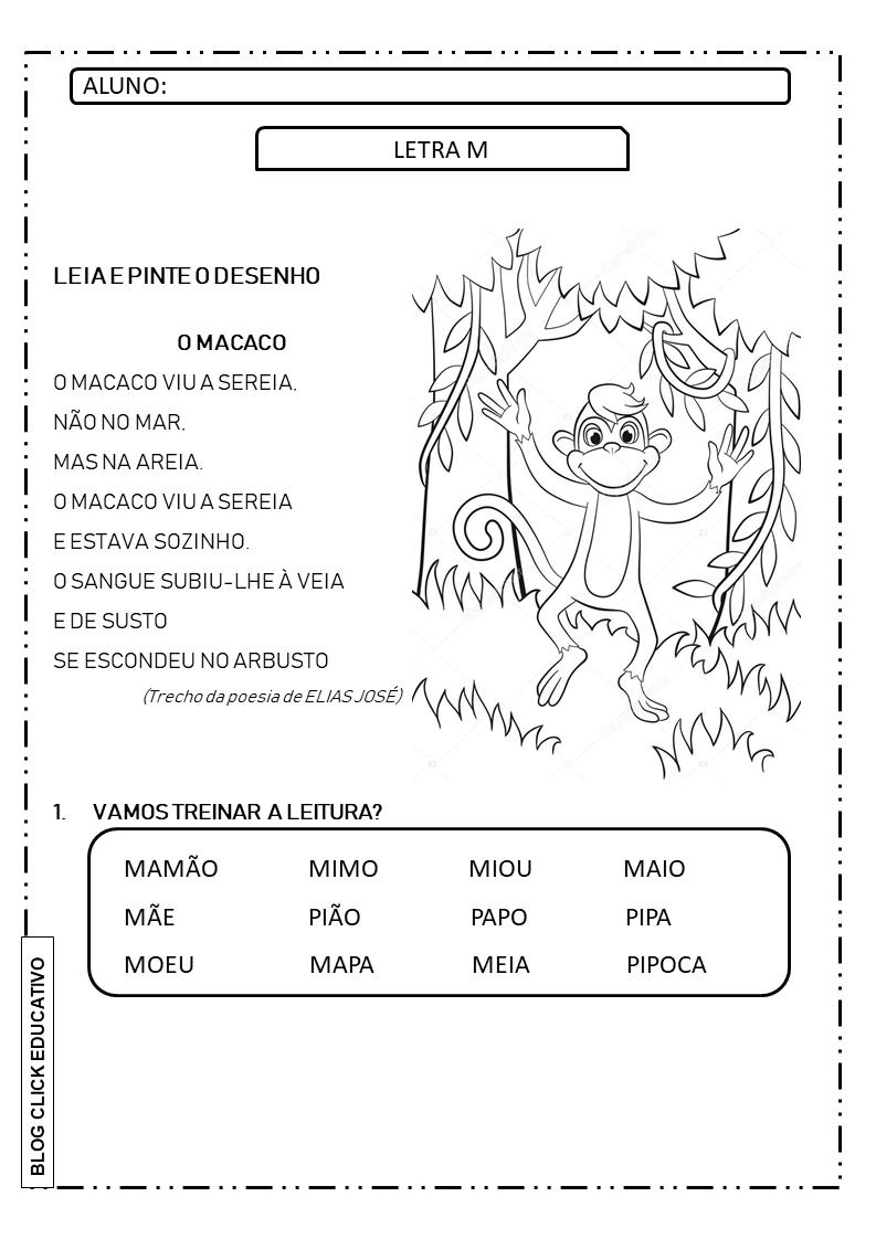 Atividade Com A Letra M Para Imprimir 1º Ano Clicks Educativos