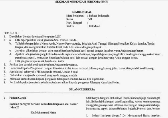 Soal UKK Bahasa Indonesia SMP Kelas VII Terbaru