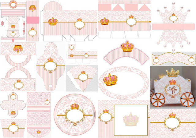 Pink Arabesques and Golden Crown: Free Printable Kit.