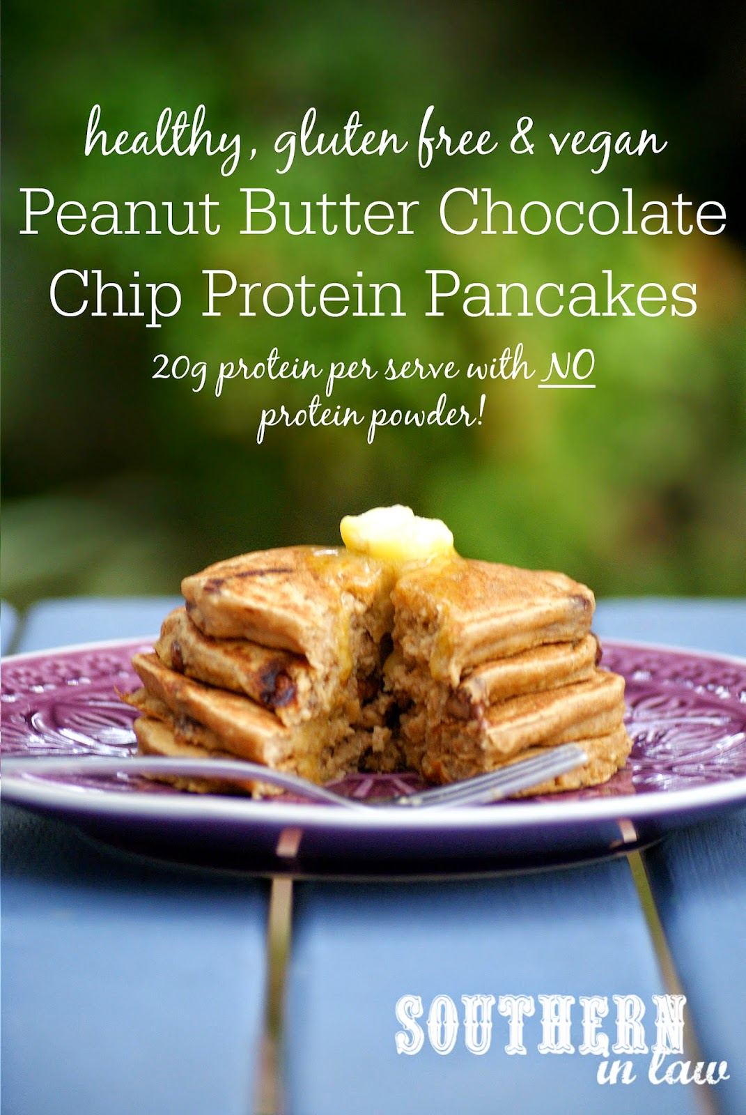 Gluten Free Peanut Butter Chocolate Chip Protein Pancakes - Protein Pancake Recipe Without Protein Powder - gluten free, vegan, clean eating friendly, sugar free, gluten free, healthy, egg free, dairy free