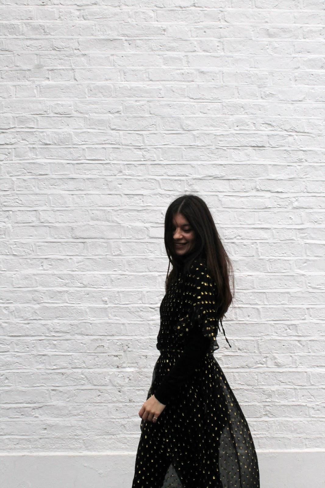 sheer dress, polka dot, gold and black, fbloggers, fashion blogger style, miss selfridge dress, uniqlo turtleneck, microinfluencer