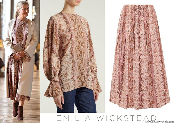 Countess of wessex wore Emilia Wickstead Dalia Python-print blouse and Richie Python-print skirt