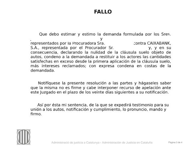 sentencia cláusula suelo La Caixa Barcelona