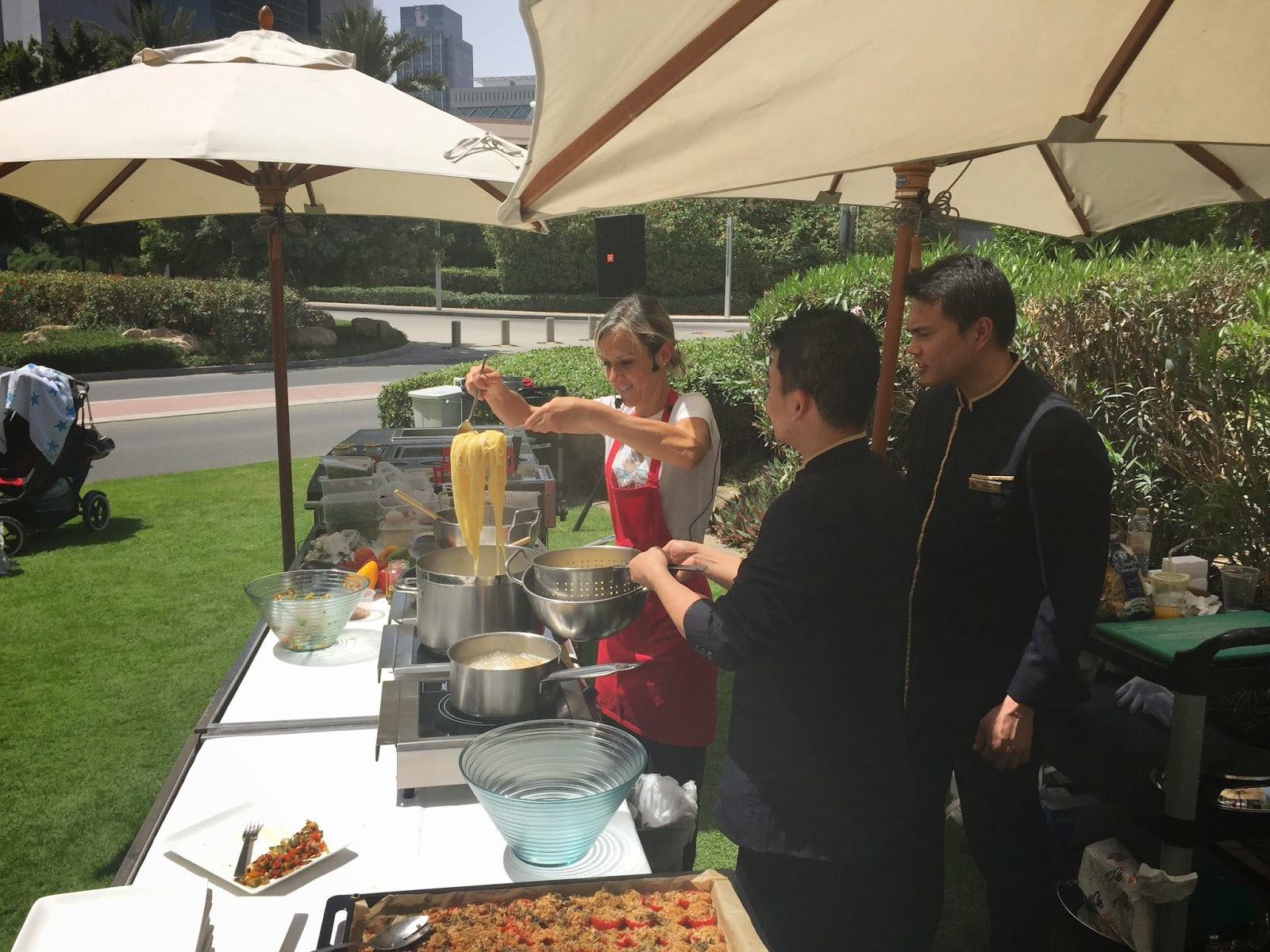 Cooking at the Farmers Market on the Terrace: pasta, pasta, pasta