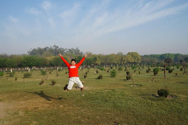 Melompat bahagia di mehtab Bagh