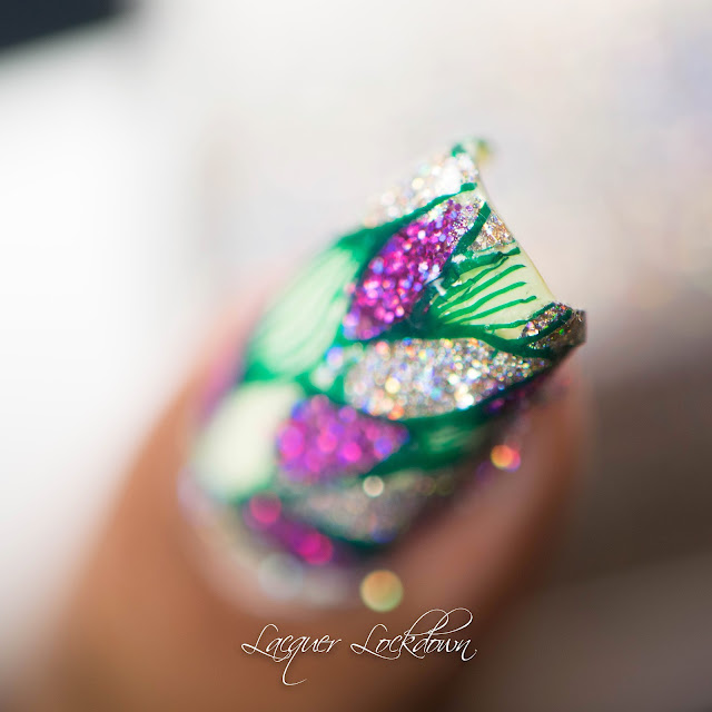 Lacquer Lockdown - holographic, holo glitter, creative shop creative shop 55, stamping, nail art stamping blog, nail art stamping, tutorial, nail art tutorial, Bliss Kiss, Cupcake Polish, holographic microglitter, holosexual, painted polish by lexi, FUN Lacquer Holo Queen, Essie Chillax
