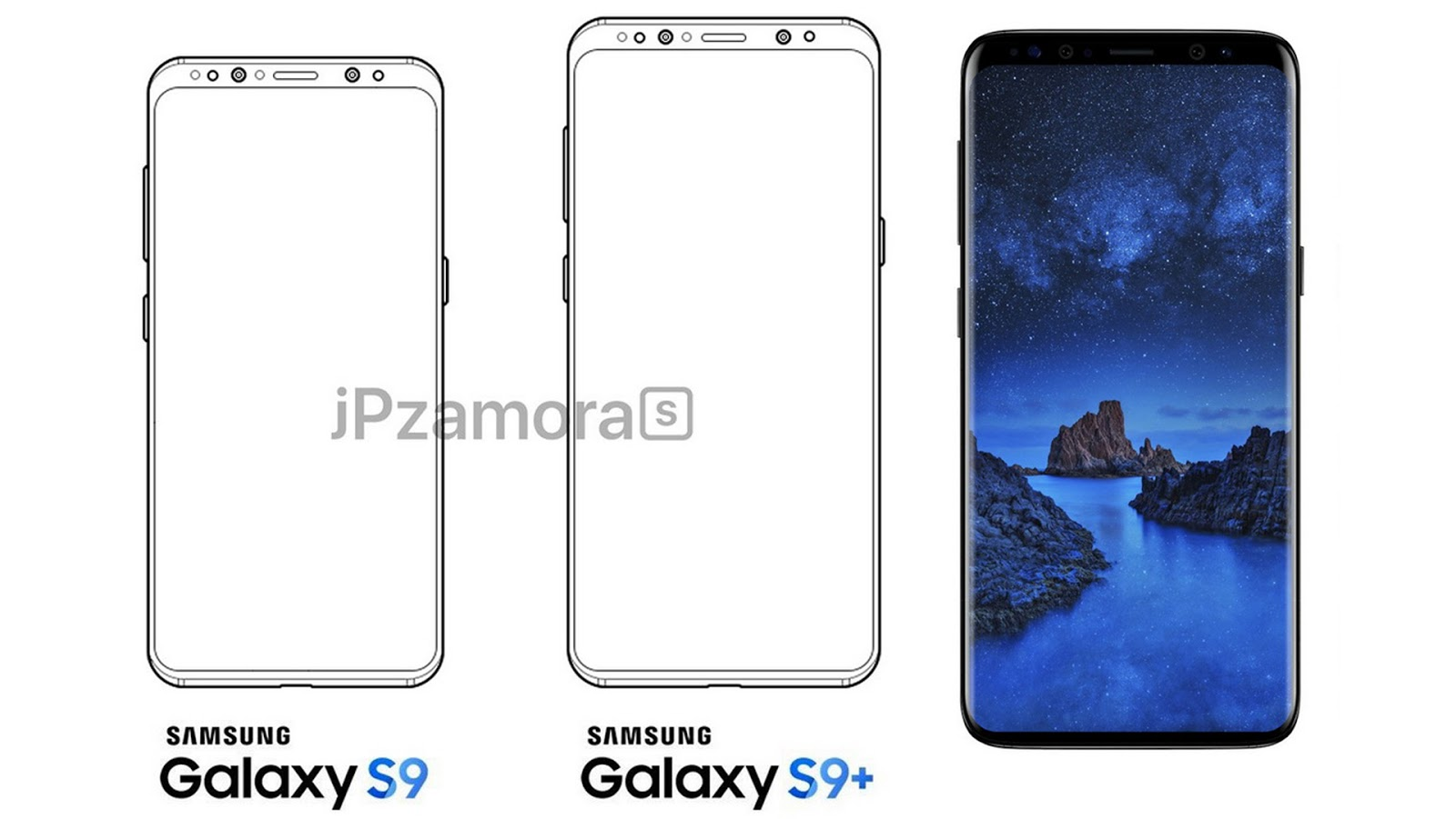 Samsung galaxy s9 and s9 plus sketch images