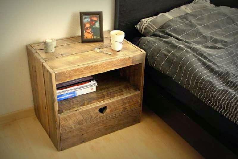 instrucciones para hacer una mesita de noche con palets. Black Bedroom Furniture Sets. Home Design Ideas